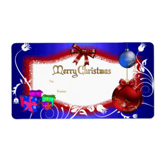 Xmas Gift Label Floral Blue Red White Christmas Shipping Label