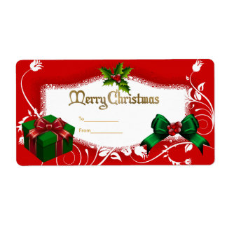 Xmas Gift Label Floral Green Red White Christmas Shipping Label
