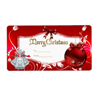 Xmas Gift Label Floral Red White Christmas Shipping Label