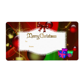 Xmas Gift Label Pink Blue Red White Christmas Shipping Label