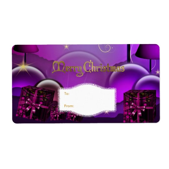 Xmas Gift Label Purple White Christmas