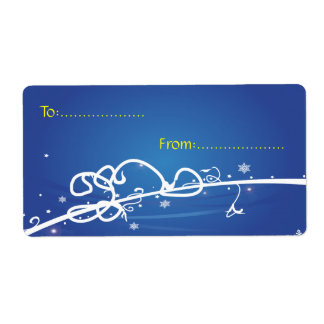 Xmas Gift Tag #1 Blue Shipping Label