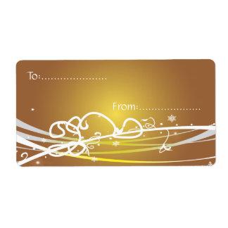 Xmas Gift Tag #1 Gold Shipping Label