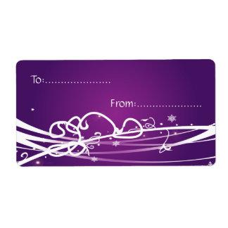 Xmas Gift Tag #1 Purple Shipping Label
