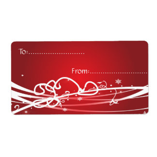Xmas Gift Tag #1 Red Shipping Label