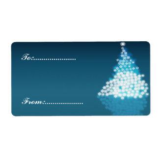 Xmas Gift Tag #2 Blue Shipping Label
