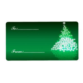 Xmas Gift Tag #2 Green Shipping Label