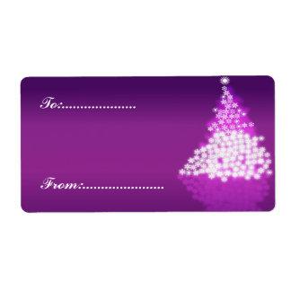 Xmas Gift Tag #2 Purple Shipping Label