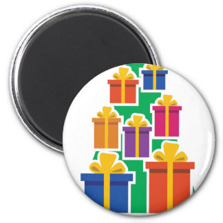 Xmas Gift Tree 6 Cm Round Magnet
