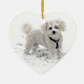 Xmas gifts for girls cute white Bischon Frise Dog Ceramic Ornament