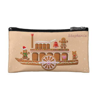 Xmas Gingerbread Steamboat And Steam Train Makeup Bag
