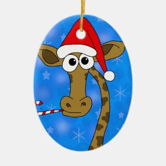 Xmas giraffe - blue ceramic ornament