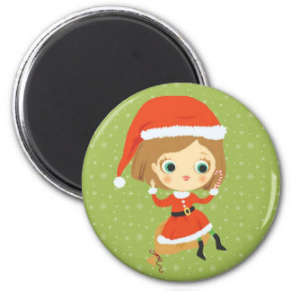 Xmas Girl and snowflakes Magnet