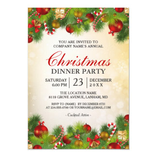 Xmas Gold Red Decoration Annual Christmas Party Card