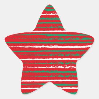 Xmas Grunge Stripes red Star Sticker