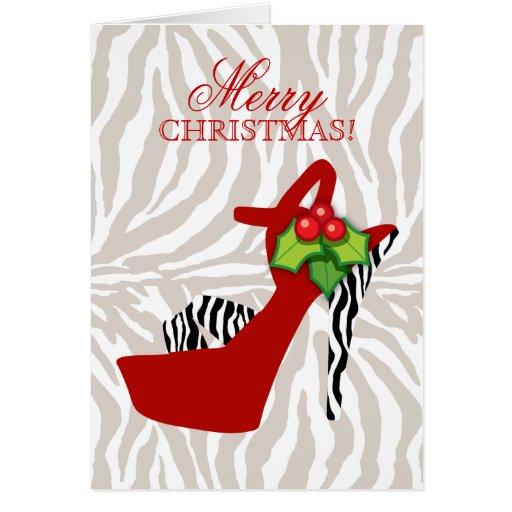 Xmas High Heel Shoe Zebra Red Greeting Card