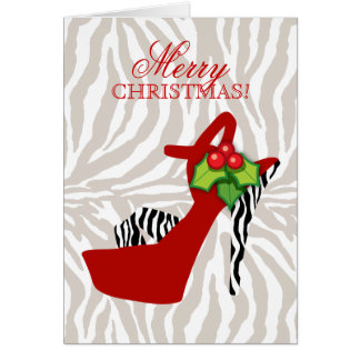 Xmas High Heel Shoe Zebra Red Greeting Card