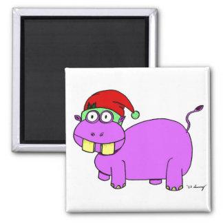 Xmas Hippo Magnet