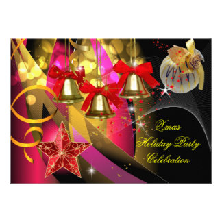 Xmas Holiday Christmas Party Pink Gold Red Black Invite