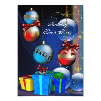Xmas Holiday Party Red Blue Gifts Boxes Balls 11 Cm X 16 Cm Invitation Card