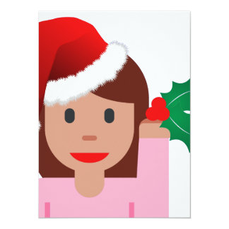 xmas information girl emoji 14 cm x 19 cm invitation card