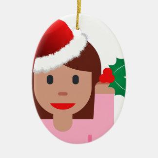 xmas information girl emoji ceramic oval decoration