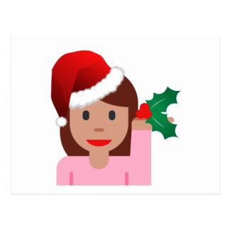 xmas information girl emoji postcard