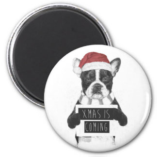 Xmas is coming 6 cm round magnet