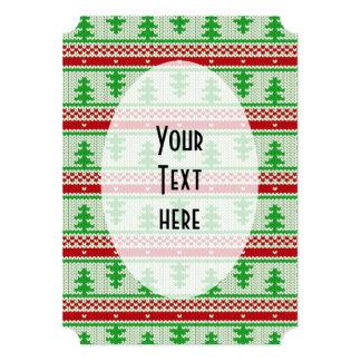Xmas knitting seamless pattern 2 + your ideas 13 cm x 18 cm invitation card