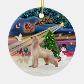 Xmas Magic - Afghan Hound (fawn) Ceramic Ornament