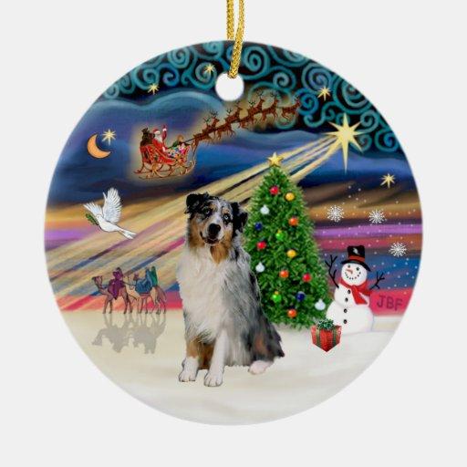 Xmas Magic - Aussie Shepherd (merle) Christmas Ornaments