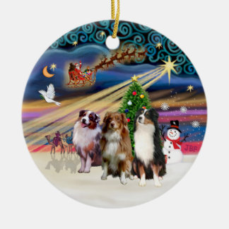 Xmas Magic - Aussie Shepherds (three) Ceramic Ornament
