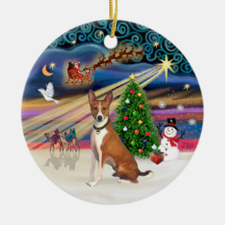 Xmas Magic - Basenji Ceramic Ornament