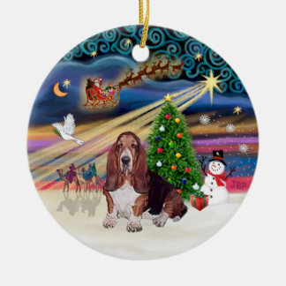 Xmas Magic - Basset Hound Ceramic Ornament