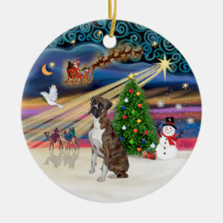 Xmas Magic - Boxer (Brindle-natural) Ceramic Ornament