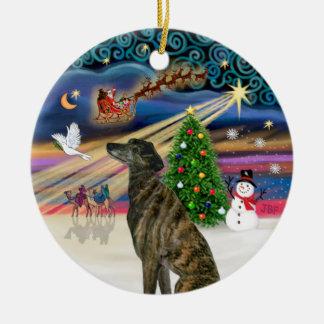 Xmas Magic - Brindle Greyhound Ceramic Ornament