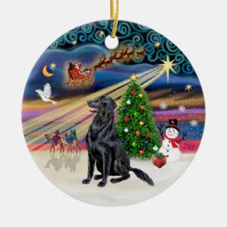 Xmas Magic - Flat Coated Retriever Ceramic Ornament