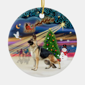 Xmas Magic - German Shepherd 13 Ceramic Ornament