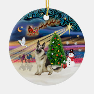 Xmas Magic - German Shepherd 9 Ceramic Ornament