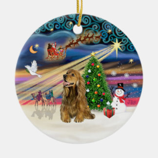 Xmas Magic - Honey Brown Cocker Spaniel Ceramic Ornament