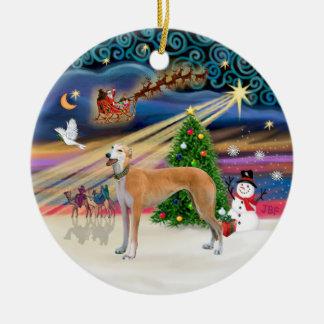 Xmas Magic - Light red Greyhound Ceramic Ornament