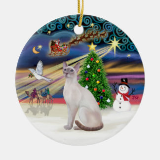 Xmas Magic - Lilac Point Siamese Ceramic Ornament