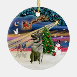 Xmas Magic - Norwegian Elkhound Round Ceramic Decoration