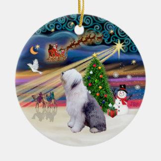 Xmas Magic - Old English Sheepdog 1 Ceramic Ornament