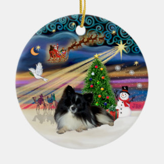 Xmas Magic - Pomeranian (black-white) Ceramic Ornament