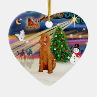 Xmas Magic - Poodle (Standard apricot) Ceramic Ornament