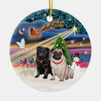 Xmas Magic - Pugs (TWO-fawn+black) Ceramic Ornament