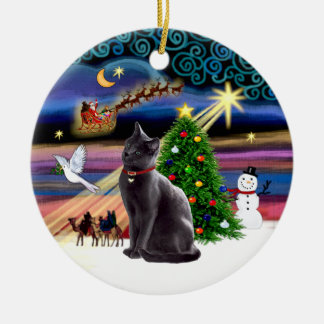 Xmas Magic - Russian Blue cat Round Ceramic Decoration