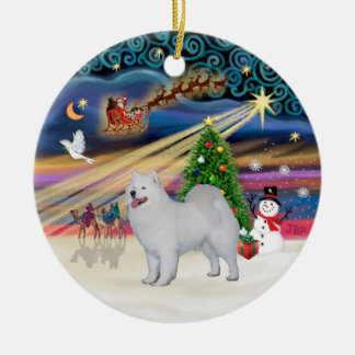 Xmas Magic - Samoyed (stand) Ceramic Ornament