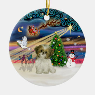 Xmas Magic - Shih Tzu Puppy (brown-white) Ceramic Ornament
